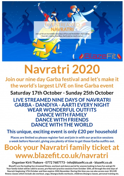 Navratri 2020 Saturday 17th October - Sunday 25th October